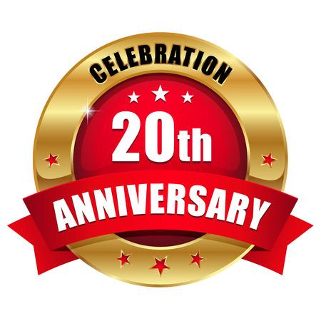 赤ゴールド 20 年周年記念バッジ