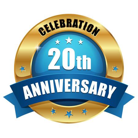 Blue gold twenty year anniversary badge Illustration