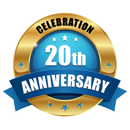 Blue gold twenty year anniversary badge Ilustrace