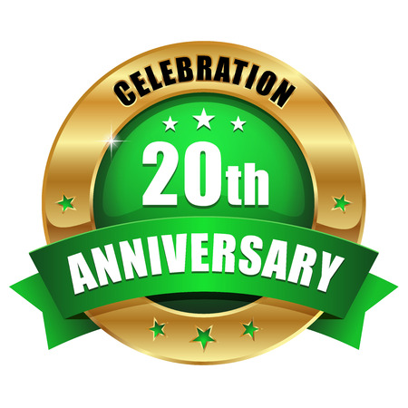 green company: Green gold twenty year anniversary badge Illustration