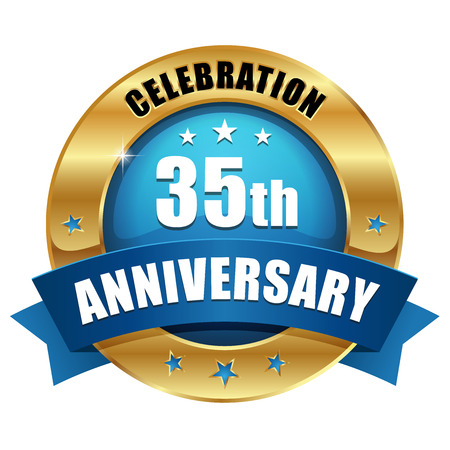 Blue gold thirty-five year anniversary badge