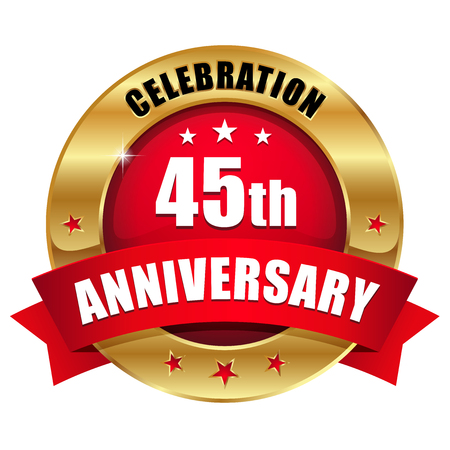 40 years: Red gold forty-five year anniversary badge