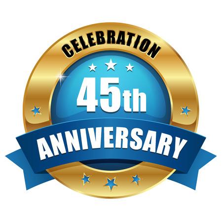 블루 골드 사십오년 기념일 배지