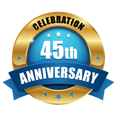Blue gold forty-five year anniversary badge