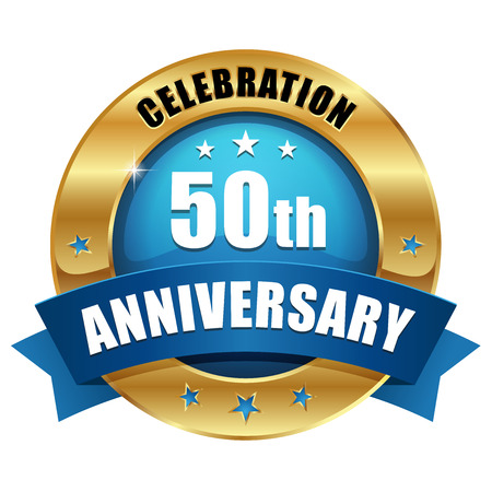 Blue gold fifty year anniversary badge