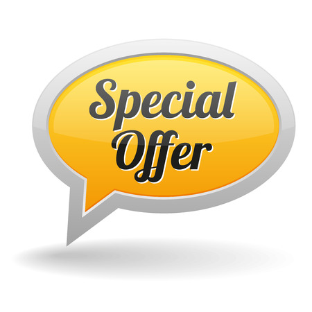 specials: Big yellow special offer speech bubble