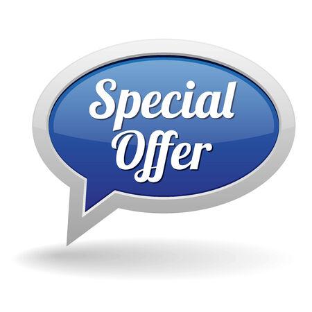 specials: Big blue special offer speech bubble