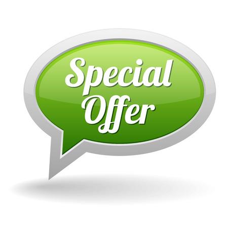 specials: Big green special offer speech bubble