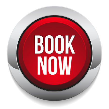 Red round book now button with metallic border