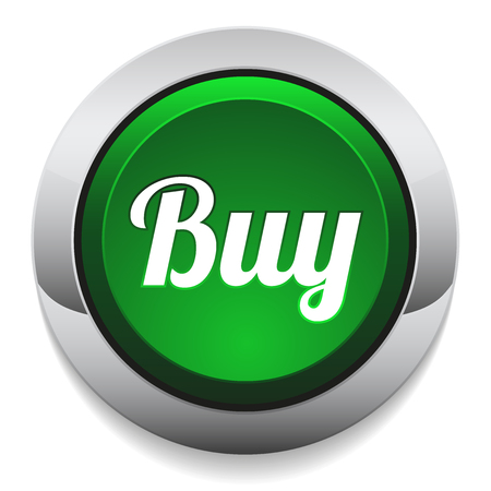 order now: Green round buy button with metallic border Illustration