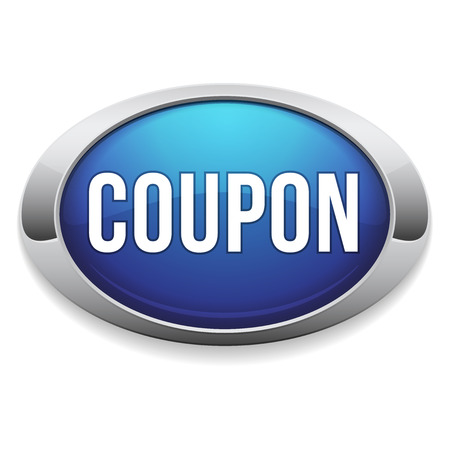 Blue round coupon button with metallic border