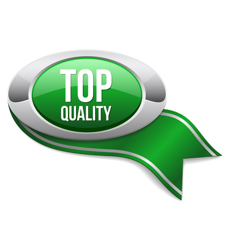 quality service: Green top quality button with ribbon