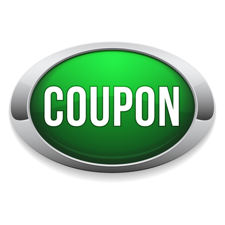 Green round coupon button with metallic border Vector