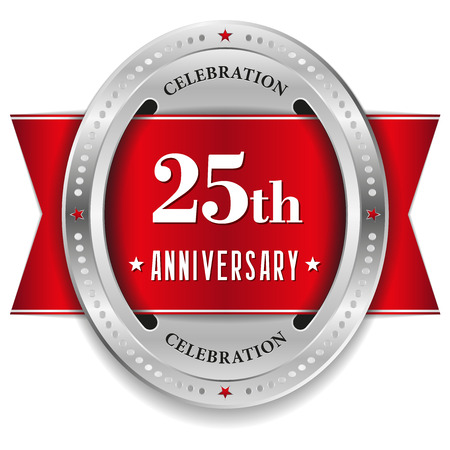 Red twenty-five year anniversary badge with ribbon Vector