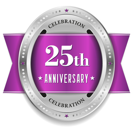 Purple twenty-five year anniversary badge with ribbon Vector