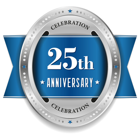 Blue twenty-five year anniversary badge with ribbon Vector
