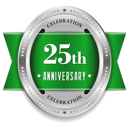 Green twenty-five year anniversary badge with ribbon Vector