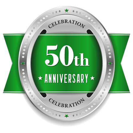 Green fifty year anniversary badge with ribbon Vector