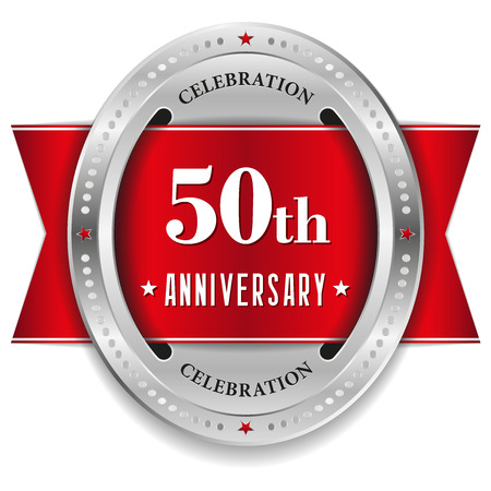 Red fifty year anniversary badge with ribbon