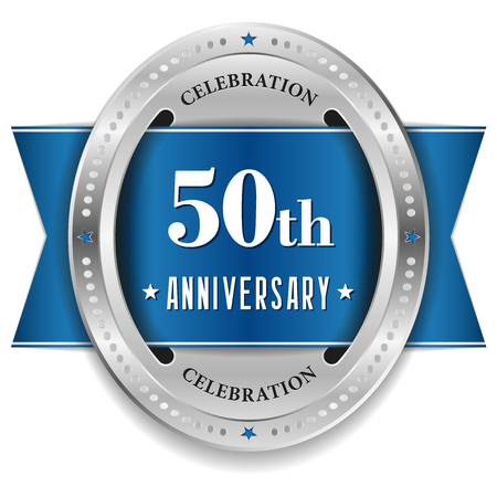 Blue fifty year anniversary badge with ribbon