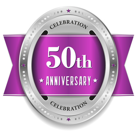 Purple fifty year anniversary badge with ribbon Vector