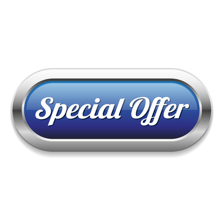 Long blue special offer button with metallic border Illustration