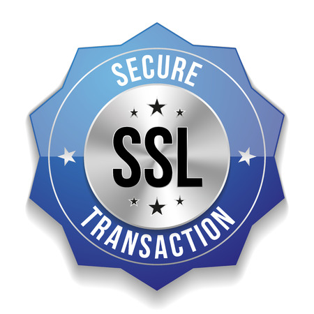 Blue secure transaction badge Vector