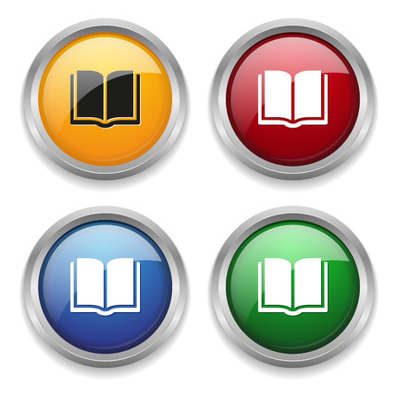 Metallic e-book button in four colors