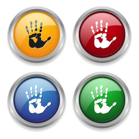 boton stop: Bot�n de parada met�lico en cuatro colores Vectores