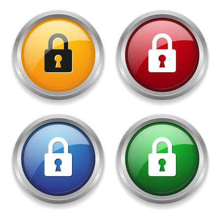 Metallic lock button in four colors Vector