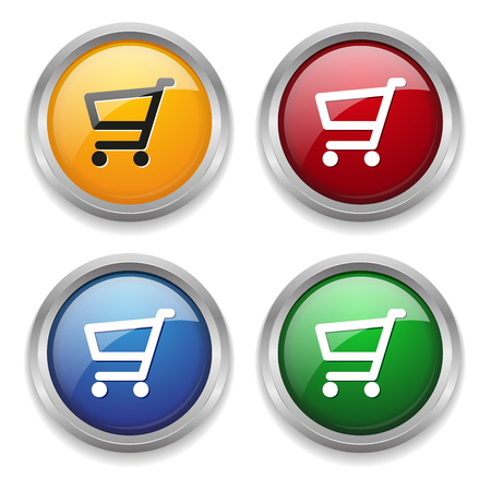 Metallic shop button in four colors Vector