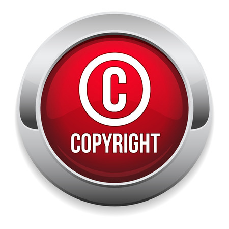 copyright symbol: Red round copyright button with metallic border