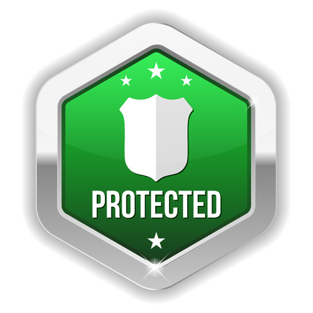 identity protection: Green metallic protected button with shield icon Illustration