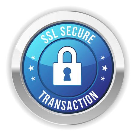 Blue metallic secure transaction button