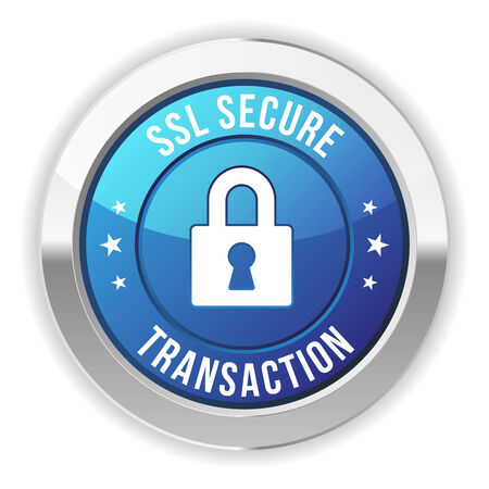 secure payment: Blue metallic secure transaction button