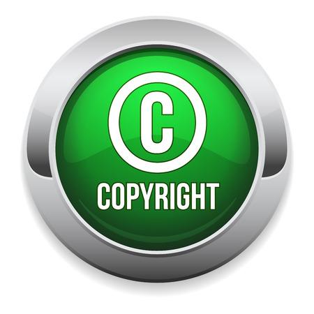 Green round copyright button with metallic border Vector