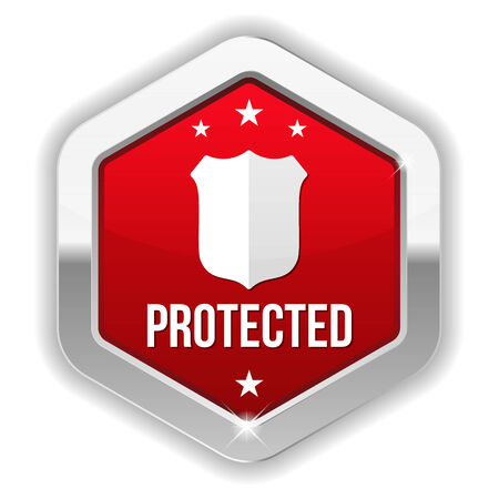 Red metallic protected button with shield icon Vector