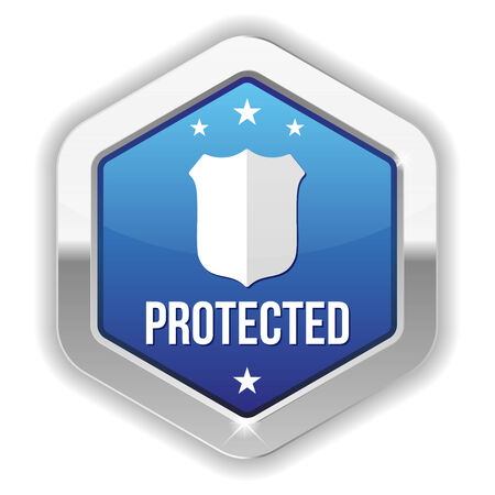 data theft: Blue metallic protected button with shield icon