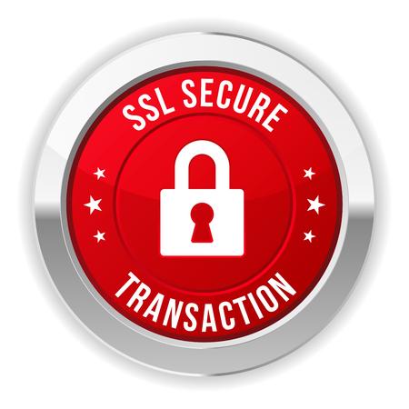 Red bouton métallique des transactions sécurisées