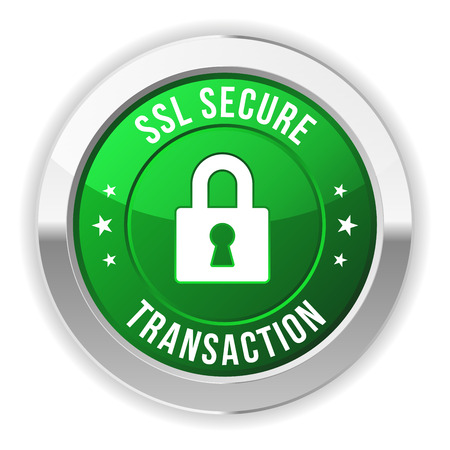 secured: Green metallic secure transaction button