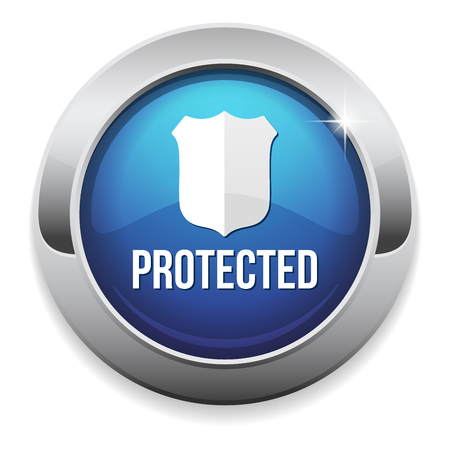 Blue round protected button with metallic border Vector