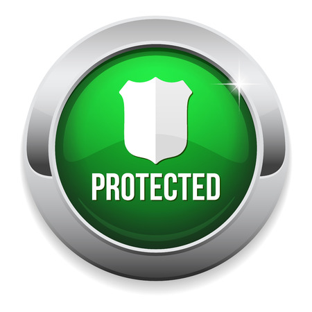 Green round protected button with metallic border Vector