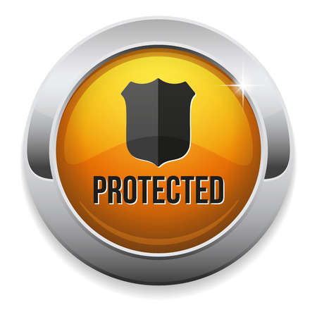 Yellow round protected button with metallic border Vector