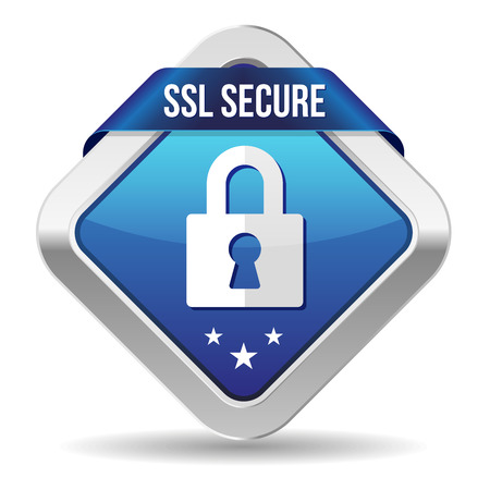 ssl: Blue square secure button with ribbon and metallic border