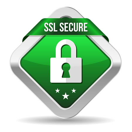 ssl: Green square secure button with ribbon and metallic border