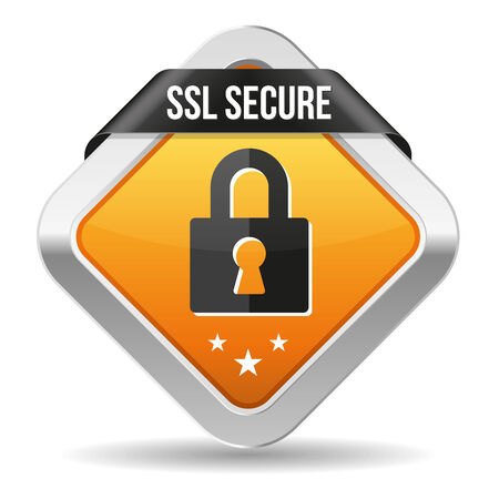 ssl: Yellow square secure button with ribbon and metallic border