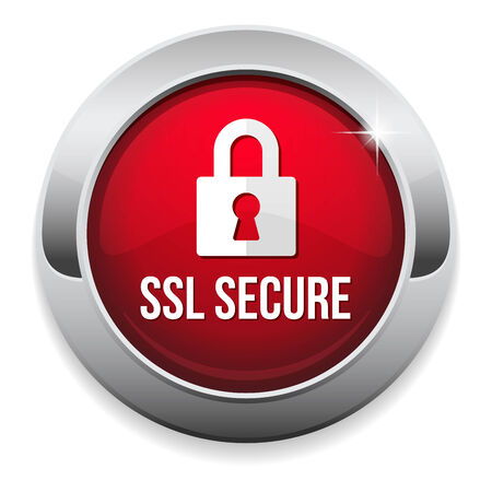 ssl: Red round secure button with metallic border Illustration