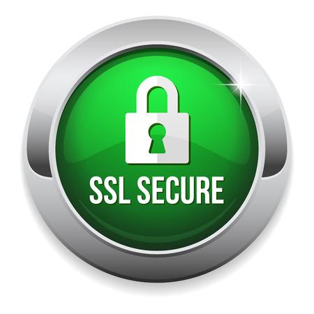ssl: Green round secure button with metallic border