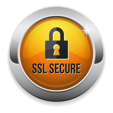 黄色丸い金属境界でのセキュリティで保護されたボタン