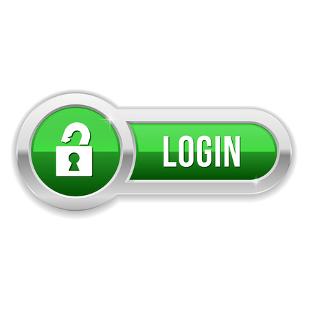 padlock icon: Long green log-n button with metallic border
